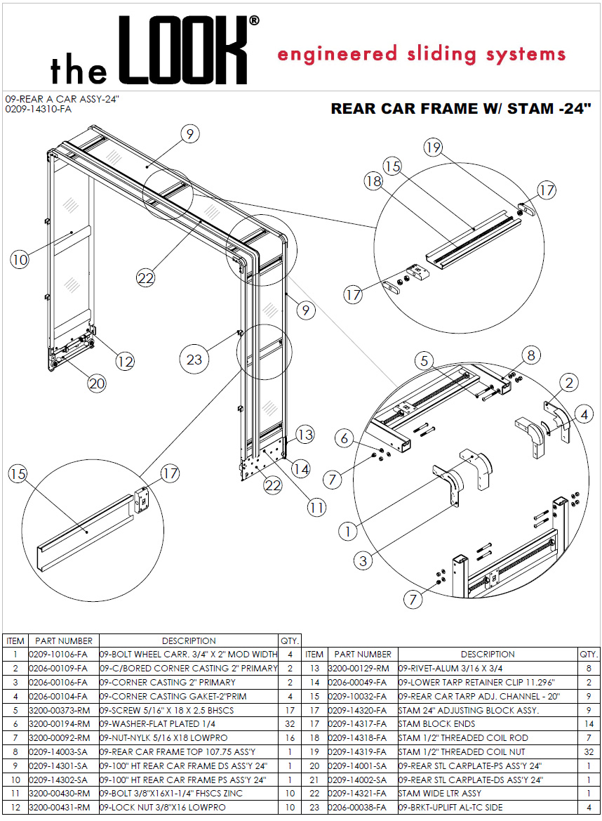 Rear Car Frame Assembly For Rolling Tarp